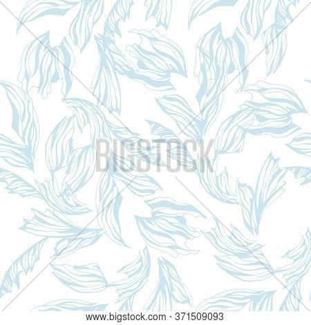 Gentle Light Airy Pattern. Seamless Abstract Blue Floral Texture On A White Background.