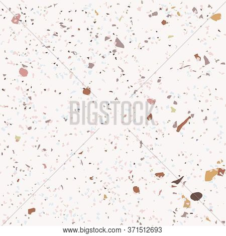 Tile Terrazzo Vector Pattern With Colorful Stone On Pink Marble Background For Seamless Concrete Roc