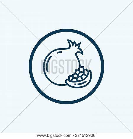 Fresh Pomegranate Icon. Outline Fresh Pomegranate Vector Icon For Web Design Isolated On White Backg