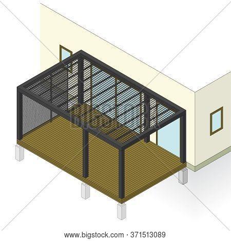 Plan Of Garden Terrace At Family House In Isometric Perspective. Outdoor Seating, Vector Constructio