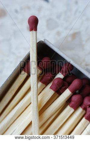 Matchbox Matchstick Single Matchstick Burgundy Red Matchstick