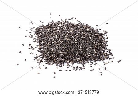 A Pile Of Organic Chia Seeds Rich In Omega-3 Fatty Acids, Side View Isolated On A White Background.