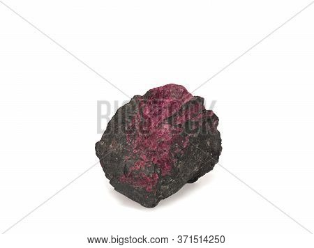 One Red Natural Ruby In The Rock Isolated On White Background
