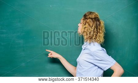 Just Look Here. Pay Attention. Teachers Enlighten Path Of Success. Woman Teacher In Front Of Chalkbo