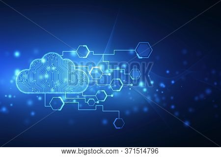 2d Illustration Of  Cloud Computing, Cloud Computing And Big Data Concept, Cloud Computing Technolog