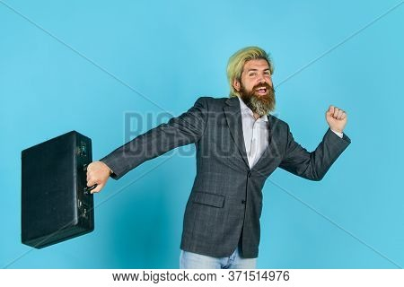 Steal Something. Hipster Bearded Face Hold Briefcase With Bribe. Businessman Run Away Business Case.