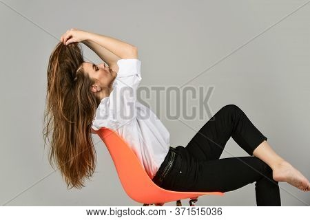 She Got Great Style. Elegant Fashion Model. Girl Wear Office Shirt And Pants. Her Casual Style. Styl