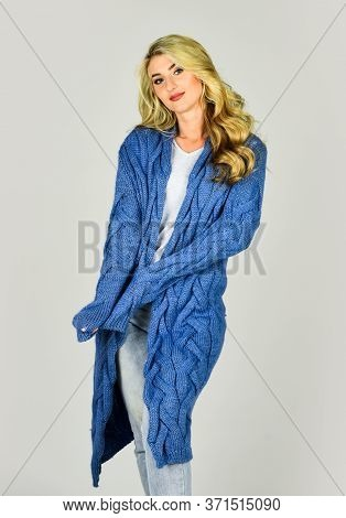 Cozy Outfit. Woman Wear Knitted Cardigan. Soft And Comfy. Oversize Cardigan For Your Comfort. Fashio