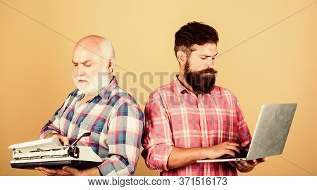 Competitors. Father And Son. Family Generation. Technology Battle. Modern Life. Retro Typewriter Vs