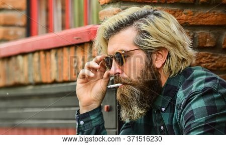 He Is Serious. Brutal Mature Hipster Smoking Cigarette. Bad Habits Concept. Harmful For Your Health.