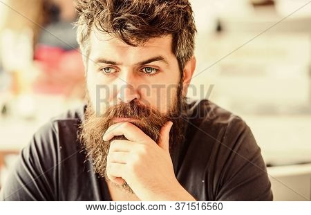 Thoughtful Mood Concept. Making Important Life Choices. Making Hard Decision. Man With Beard And Mus