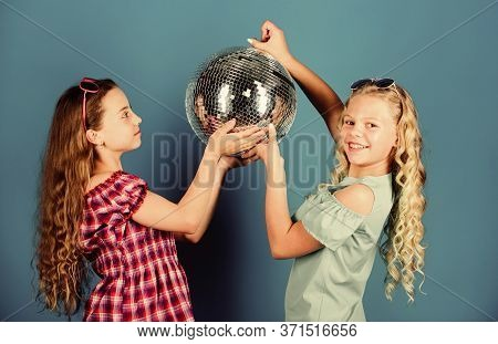 Retro Music. Mirrors Reflecting Lights Disco Atmosphere. Holiday Celebration. Entertainment Concept.