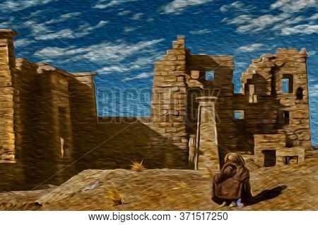 Egyptian Man Sitting In Front Of Ruins From An Ancient Temple At The Tebas Necropolis Near Luxor. An