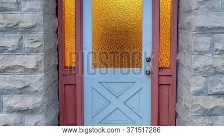 Panorama Frosted Glass Panes On The Front Door Sidelights And Transom Window Of Home