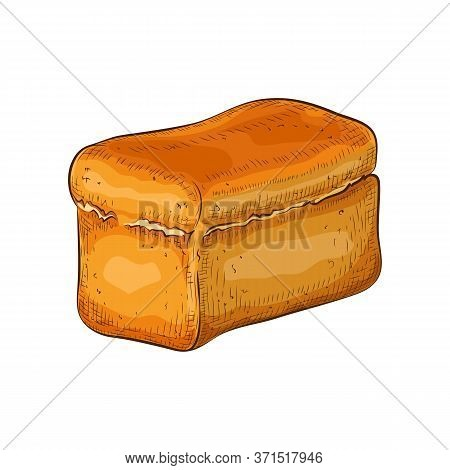 Wheat Bread Isolated On White. Hand Drawn Traditional White Square Loaf Doodle Icon. Fresh Baked Gra
