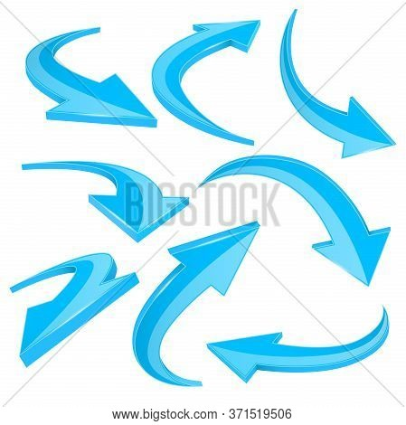 Blue Shiny 3d Arrows. Curved Signs. Vector Illustration Isolated On White Background