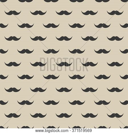 Seamless Pattern With Mustache. Vintage Retro Moustache. Facial Hair. Hipster Beard. Vector Illustra