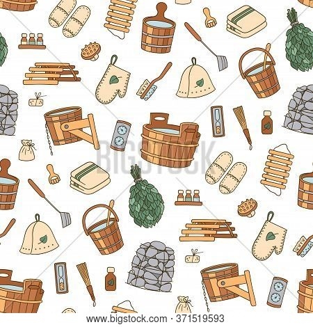 Sauna Accessories - Washer, Broom, Tub, Bucket, Pot And Other. Bathhouse Wooden Accessories. Hand Dr