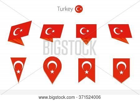 Turkey National Flag Collection, Eight Versions Of Turkey Vector Flags. Vector Illustration.