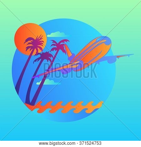Vector Island Trendy And Modern For Travel Symbol. Plane Flying Over The Waves And Tropical Island.