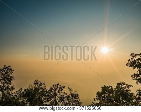 Beautiful Sunrise And Sea Of The Fog Or Mist On Top Of Phu Kradueng Mountain National Park In Loei C