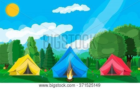 Meadow With Grass And Camping. Tents And Campfire. Summer Landscape Concept. Green Forest And Blue S