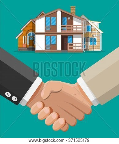 Deal Between Agent And Owner. Agreed To Buy And Sell House. Handshake And House Building. Mortgage,