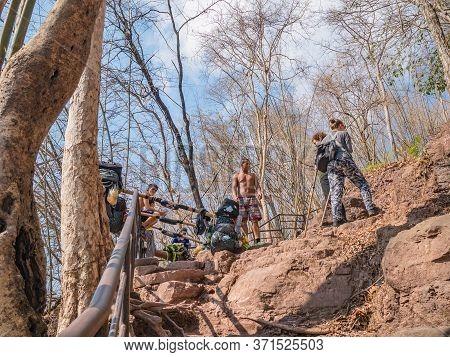 Loei/thailand-18 Feb 2019:unacquainted People And Poster Man On Phu Kradueng Mountain National Park