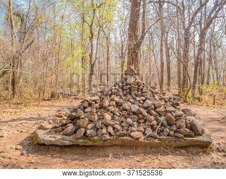 Stone Tower On Nature Trail On Phu Kradueng Mountain National Park In Loei City Thailand.phu Kraduen