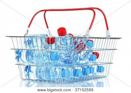 plastic bottles of water in metal basket isolated on white