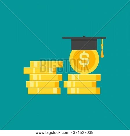 Golden Dollar Coins Stack And Mortar Board. Education Value, Study Expenses.
