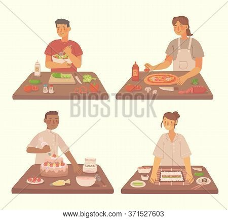 Young Girl And Boy Cooking Pizza, Cake, Sushi And Salad In Kitchen At Home. Cooking Pizza And Salad
