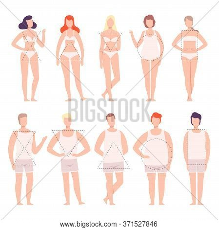 People In White Underwear Set, Five Types Of Male And Female Body Shapes, Hourglass, Inverted Triang