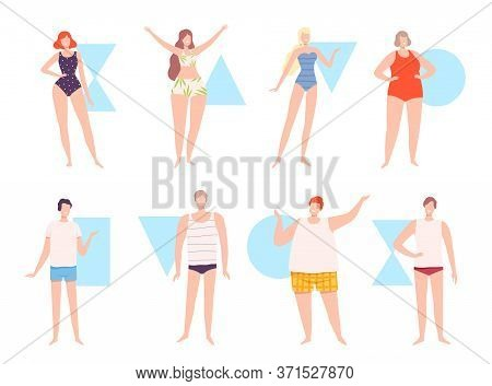 Five Types Of Male And Female Body Shapes Set, Hourglass, Inverted Triangle, Round, Rectangle, Trian