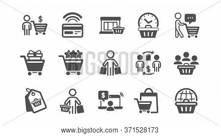 Buyer Customer Icons Set. Group Of People, Contactless Payment And Shopping Cart. Store, Buyer Loyal