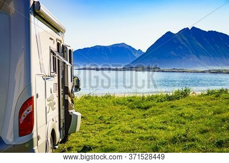 Camper On Lofoten Seashore, 17 July 2018, Norway