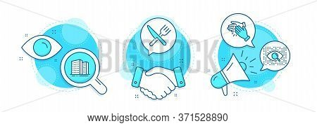Buildings, Food And Artificial Intelligence Line Icons Set. Handshake Deal, Research And Promotion C