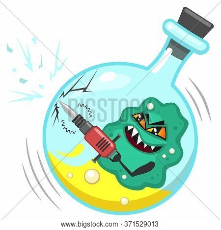 Big Aggressive Bacterium Or Virus Is Breaking Flask To Escape From Laboratory