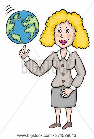 Young Female Teacher Of Geography Showing And Rotating Globe