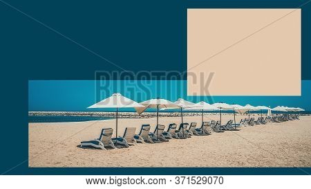 Vacation Holidays Beach Design Poster. The Beach With Sunbeds And Sunshades. Template For Poster, Ba