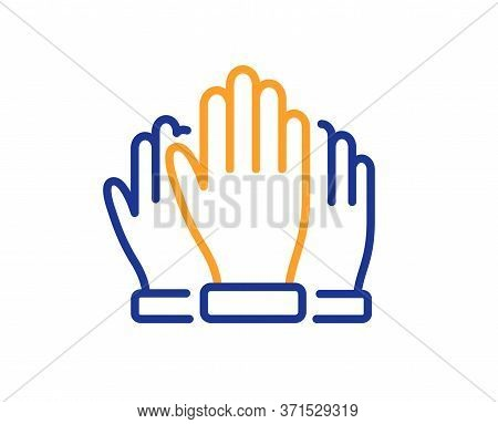 Vote Hands Line Icon. Election Voting Sign. Volunteers Or Referendum Symbol. Colorful Thin Line Outl