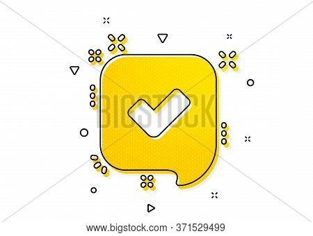 Accepted Or Confirmed Sign. Approve Icon. Speech Bubble Symbol. Yellow Circles Pattern. Classic Conf