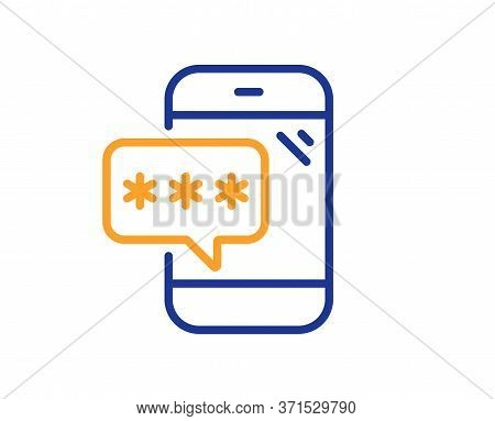 Phone Password Line Icon. Cyber Defence Sign. Mobile Protection Symbol. Colorful Thin Line Outline C
