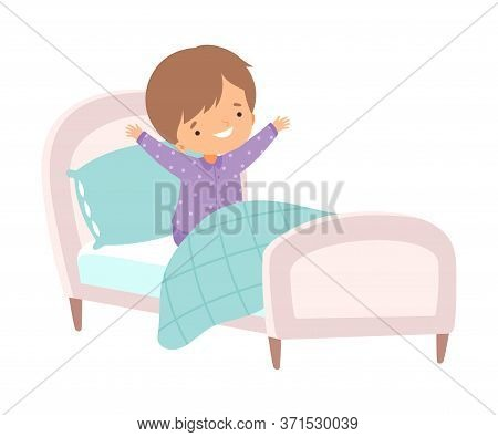 Cute Boy Waking Up And Yawning In The Bed, Preschool Kid Daily Routine Activity Cartoon Vector Illus