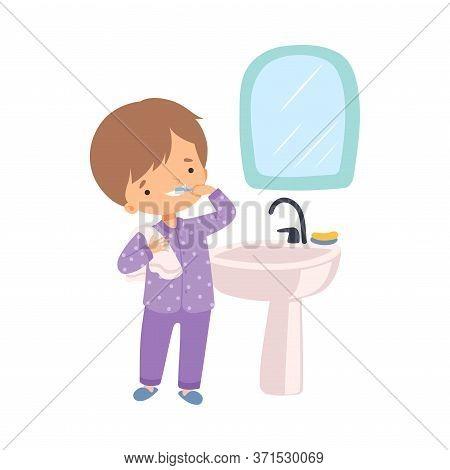 Cute Boy Brushing His Teeth In Bathroom, Preschool Kid Daily Routine Activity Cartoon Vector Illustr