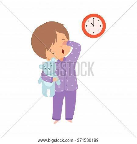 Cute Sleepy Boy Wearing Pajamas Standing With Teddy Bear, Preschool Kid Daily Routine Activity Carto
