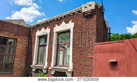Ruined Old House. And The Blue Sky. The Remains Of Old Houses. Abandoned City. The City Of Ghosts. T