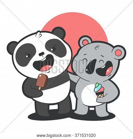 Cute Panda And Koala Eat Ice Cream Vector Cartoon Illustration Isolated On A White Background.