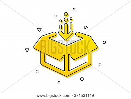 Open Delivery Parcel Sign. Get Box Icon. Cargo Package Symbol. Yellow Circles Pattern. Classic Get B