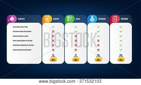 Copy Files, Loan And Laundry Icons Simple Set. Price List, Pricing Table. Contactless Payment Sign.